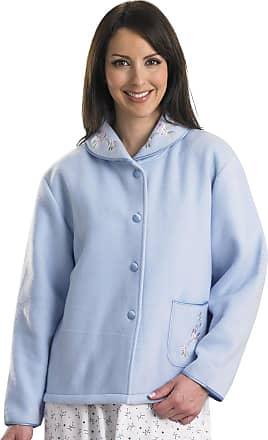 Slenderella Ladies Soft Polar Fleece Button Up Bed Jacket Floral Embroidered Detail House Coat UK 20/22 (Blue)