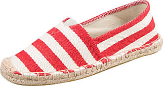 YOUJIA Mens Womens Striped Espadrilles Flat Slip on Canvas Casual Beach Summer Shoes ( 3 Red, EU 39)