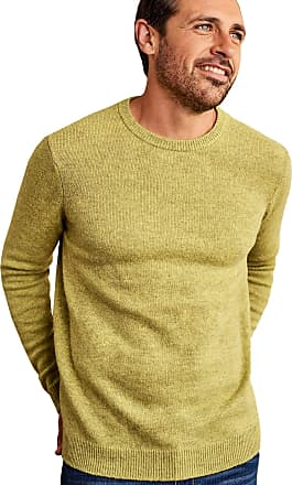 WoolOvers Mens Lambswool Crew Neck Jumper Key Lime, XL