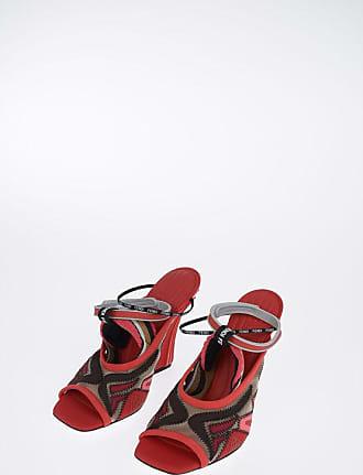 Fendi 12 cm fabric and leather sandal size 38,5