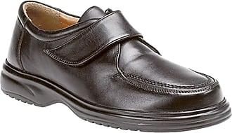 Roamers Mens Black Leather E Fitting Touch Fastening Apron Leisure Shoe - Black - size UK Mens Size 6