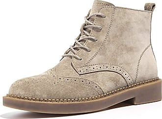 MGM-Joymod Womens Comfort Lace-up Brogues Perforated Wingtip Stitching Work Office Dress Martin Ankle Booties (Sand Brown) 6.5 M UK