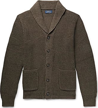 Polo Ralph Lauren Shawl-collar Ribbed Mélange Cotton Cardigan - Army green
