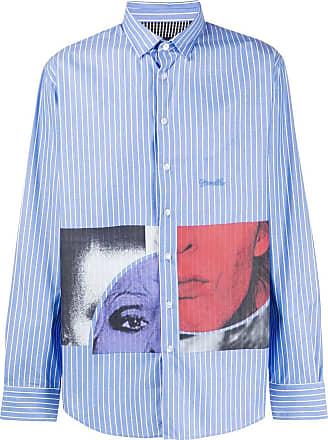 Frankie Morello Camisa de algodão com recortes de listras - Azul