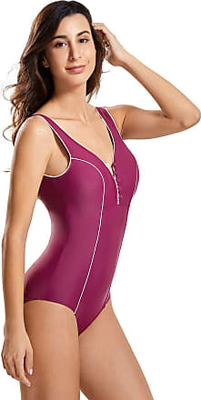 Delimira Womens Slimming Built-in Cup Deep-V One Piece Swimsuit Bathing Suits Fuchsia 12