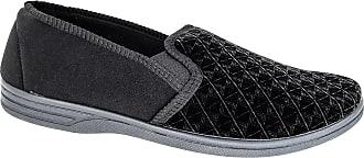 Zedzzz Mens Black Textile Comfortable Slip On Slippers Sizes 8 9 10 11 12 13 14 15 16 (10)