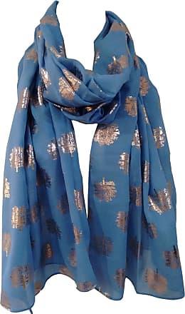 GlamLondon Rose Gold Oak Glitter Trees Scarf Womens Foil Printed Ladies Wrap (Blue Light)