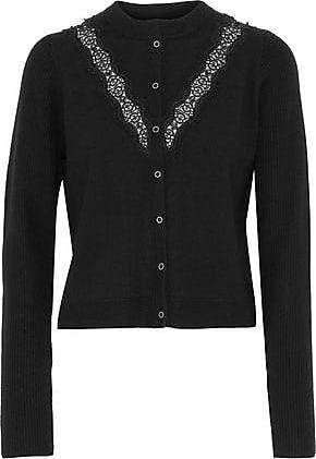 Elie Tahari Elie Tahari Woman Sylvie Lace-trimmed Bead-embellished Merino Wool Cardigan Black Size S