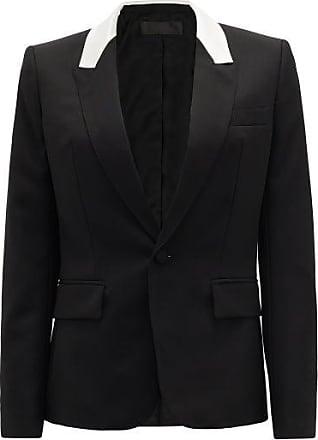 Haider Ackermann Contrast-panel Single-breasted Wool Jacket - Womens - Black White