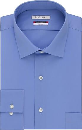 Van Heusen mensDress Shirt Regular Fit Flex Collar Solid Spread Collar Long Sleeve Dress Shirt - Blue - 16.5 Neck 36-37 Sleeve