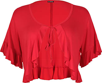 Purple Hanger Womens Short Sleeve Ladies Stretch Frill Front Neck Tie Cropped Plain Cardigan Bolero Shrug Top Plus Size Red 20-22