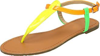 Spot On Flat Ankle Strap Toepost sandal (Yellow Multi, Size 5 UK)
