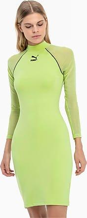 Puma Tech Clash Long Sleeve Womens Bodycon Dress, Sharp Green, size X Small, Clothing