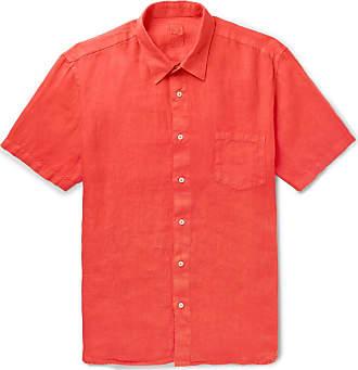 120% CASHMERE Garment-dyed Linen Shirt - Red