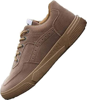LanFengeu Men Sneakers Waterproof Round Toe Solid Color Lace up Flat Trainers Lightweight Walking Sport Casual Skateboarding Shoes Brown