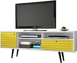 Manhattan Comfort Liberty Collection Mid Century Modern TV Stand With Three Shelves, One Cabinet and One Drawer With Splayed Legs, Yellow/White