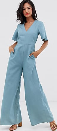 Glamorous wide leg smock jumpsuit in chambray-Blue