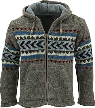 Loud Elephant Wool Knit Chevron Hooded Jacket - Grey (Medium)