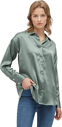 LilySilk 100% Mulberry Silk Blouse for Women Long Sleeve Chic Relaxed Silk Shirt XXL, Grey Green