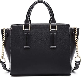 Quirk Button Wing PU Leather Handbag - Black