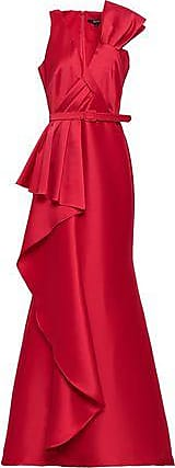 Badgley Mischka Badgley Mischka Woman Belted Draped Duchesse-satin Gown Red Size 12