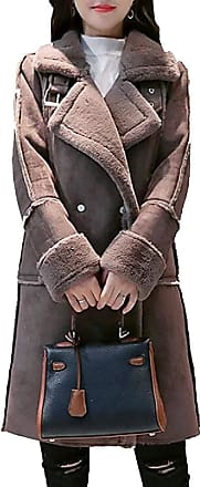 VITryst Womens Long Sleeve Lined Fleece Double-Breasted Suede Shearling Coat Leather Jacket,1,X-Small