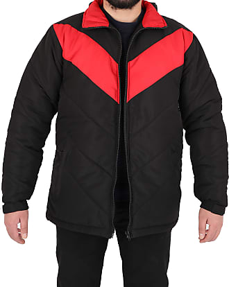 Parsa Fashions Mens Jacket Stylish Padded Soft Touch Contrast Puffer Bubble Warm Thick Coat Jackets M-XXL (XXL, Black - Red)