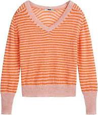 Zenggi Papaya Stripes Summer Alpaca Strickwaren mit V-Ausschnitt - large