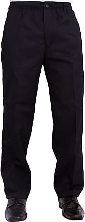 Generic Mens Full Elasticated Waist Trousers Rugby Pants Office Work Casual Formal WEAR W32-W48 L 27 29 31 (Navy, W30 X L29)