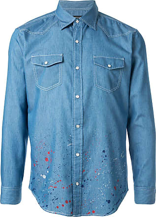 Loveless Camisa jeans com respingos de tinta - Azul