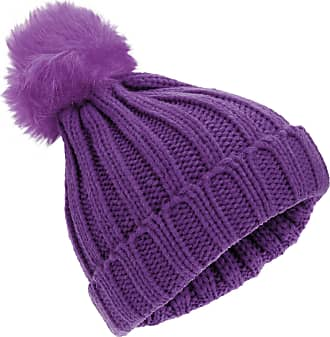 Universal Textiles Childrens Girls Rockjock Cable Knit Faux Fur Pom Pom Winter Beanie Hat (One Size) (Plum)