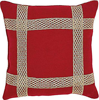 VHC Brands Christmas Holiday Throws-Revelry Red Trim 12 x 12 Pillow, 12 x 12