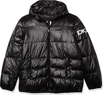 DKNY Mens Water Resistant Ultra Loft Hooded Logo Puffer Jacket Down Alternative Coat, Black, Large