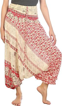 Lofbaz Womens Floral Elephant Harem Trousers Smocked Jumpsuit Red 2XL
