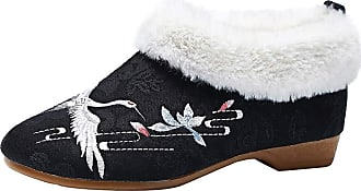 ICEGREY Womens Embroidered Chinese Style Loafers Shoes Low Heel Booties Black-Crane 5.5