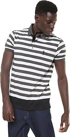Aleatory Camisa Polo Aleatory Reta Listrada Cinza Branca 9ef05f3cc33b9