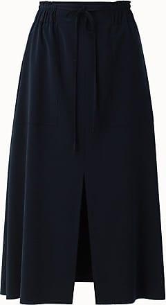 Akris Laser Cut Crepe Midi Skirt with Front Slit