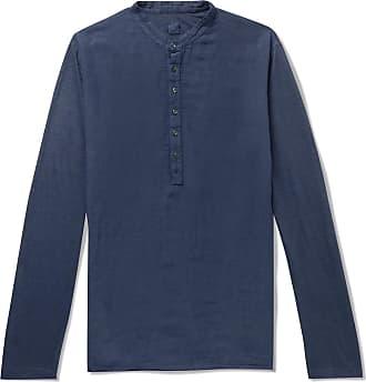120% CASHMERE Linen Henley T-shirt - Blue