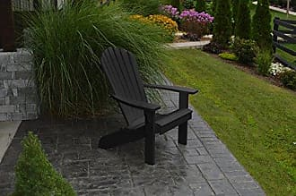 A & L Furniture A & L Furniture Poly Fanback Adirondack Chair, Black