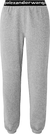 T Alexander Wang Intarsia-trimmed Stretch Cotton-blend Corduroy Tapered Track Pants - Gray