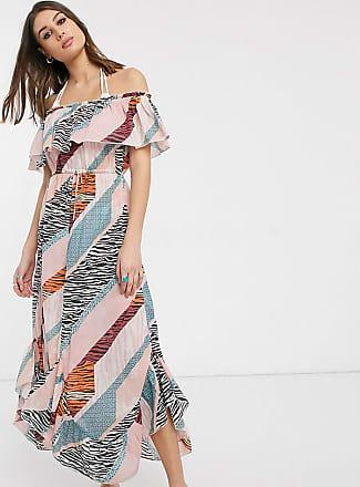 ASOS DESIGN – Hinten gedrehtes Maxi Strandkleid mit verwaschenem Paisley Muster bedruckt Mehrfarbig