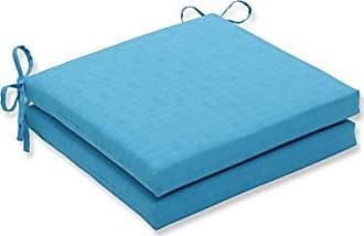 Pillow Perfect Outdoor/Indoor Veranda Turquoise Squared Corners Seat Cushion 20x20x3 (Set of 2)
