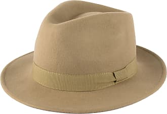 Hat To Socks Wool Fedora Hat with Grosgrain Band Handmade in Italy Beige
