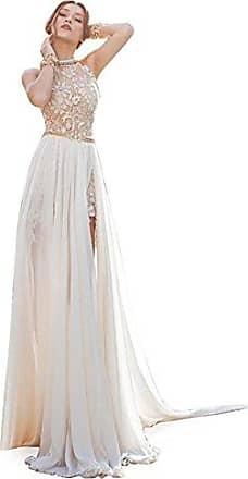 79958ab63582df MisShow Damen Neckholder Rückenfrei ärmellos Abendkleid Brautjungfernkleid  Bodenlang Maxikleid Elfenbein 40