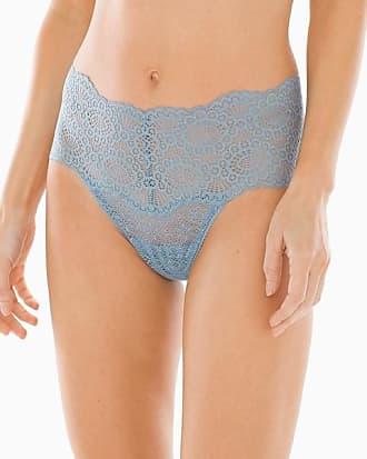 Soma Embraceable Allover Geo Lace Retro Thong, Antique Blue, Size XXL