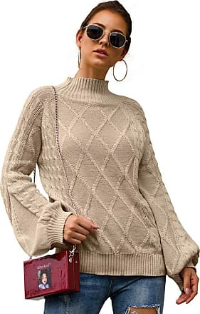 YYW Womens Turtleneck Oversized Sweaters Batwing Long Hollow Sleeve Pullover Loose Chunky Knit Jumper (Khaki,XL)