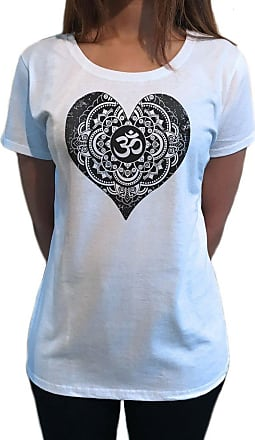 Irony Womens Tee Buddha Om Asum Yoga Heart Chakra Meditation Zen Peace TS1097 (White, Small)
