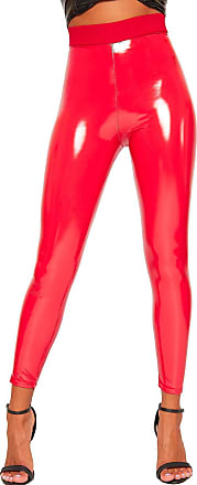 76797f8eeb386 WearAll Womens Wet Look Shiny Pu Jeggings Trousers Pants Ladies High  Waisted Leggings - Red -