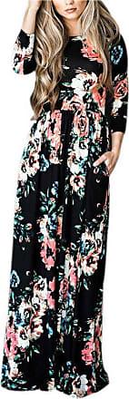 Minetom Womens Summer Casual Long Sleeve Floral Print Bohemian Style Round Neck Beach Evening Party Long Maxi Tunic Dress Black UK 8