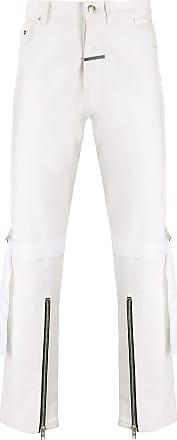 Zilver knee strap denim jeans - White